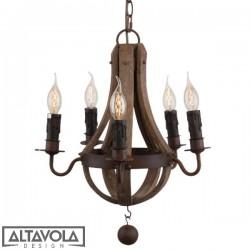 Lampa wisząca COGNAC BARREL NO. 1 mini - drewniany żyrandol ALTAVOLA
