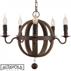 Lampa wisząca COGNAC BARREL NO. 2 mini - DREWNIANY ŻYRANDOL ALTAVOLA
