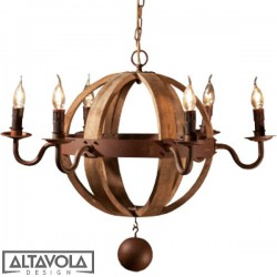 Lampa wisząca COGNAC BARREL NO. 2 - DREWNIANY ŻYRANDOL ALTAVOLA